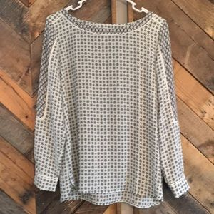 LOFT blue pattern top NWOT
